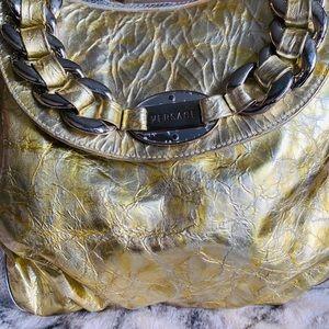 Versace metallic/gold crinkled hobo bag